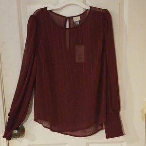 🥰ShinySheer a new day Long Sleeve Burgundy Blouse